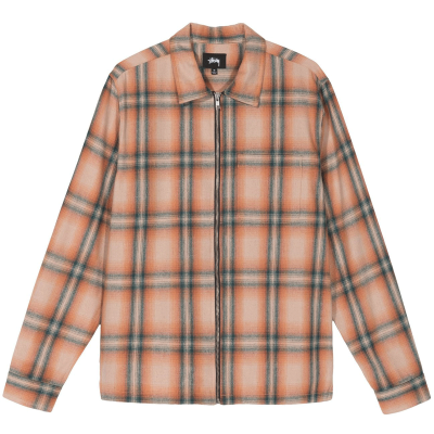 GUNN PLAID ZIP UP LS SHIRT ORANGE