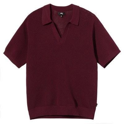 CABLE MESH SS POLO MAROON