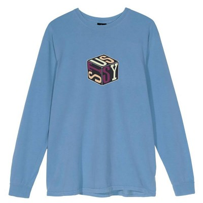 CUBE PIG. DYED LS TEE BLUE